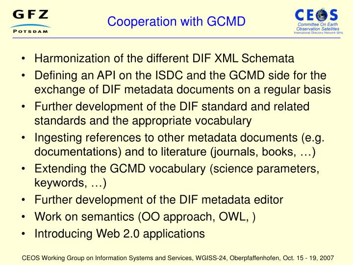 Cooperation with GCMD