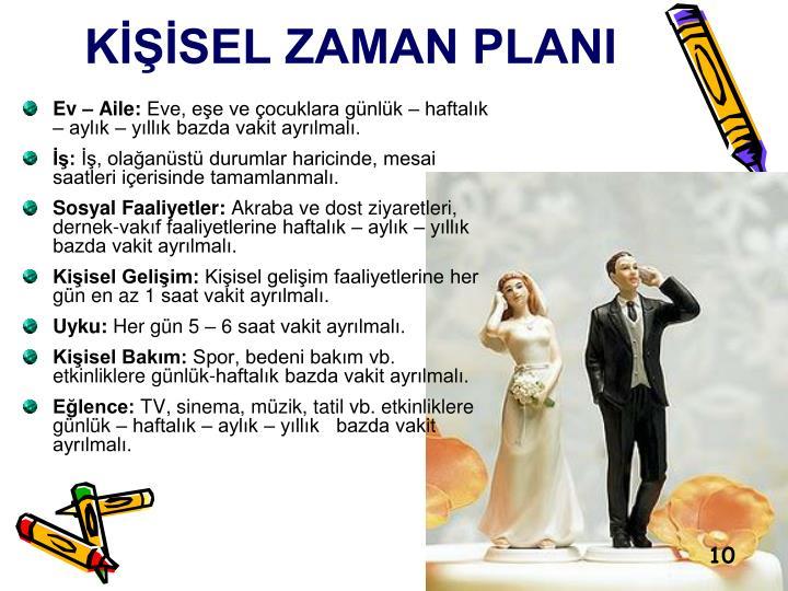 KİŞİSEL ZAMAN PLANI