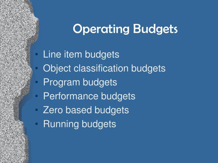 Operating Budgets