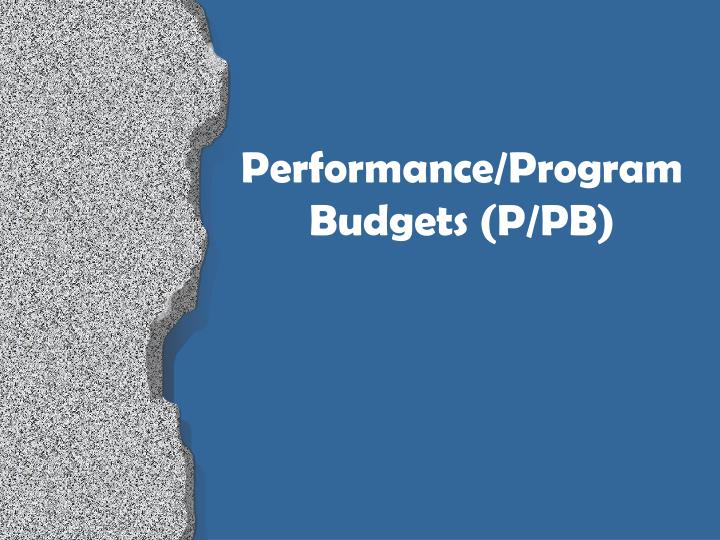 Performance/Program Budgets (P/PB)