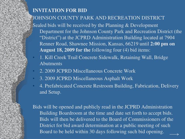 INVITATION FOR BID