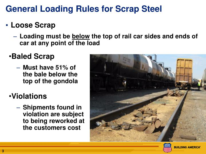 General loading rules for scrap steel