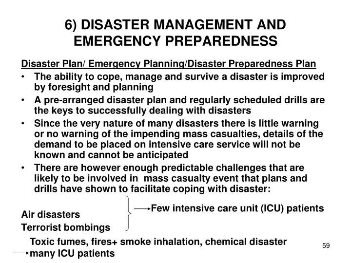 6) DISASTER MANAGEMENT AND EMERGENCY PREPAREDNESS