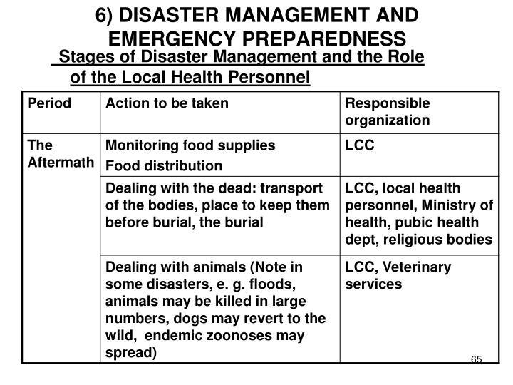 6) DISASTER MANAGEMENT AND EMERGENCY PREPAREDNESS