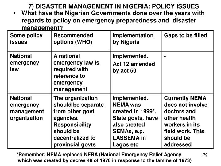 7) DISASTER MANAGEMENT IN NIGERIA: POLICY ISSUES