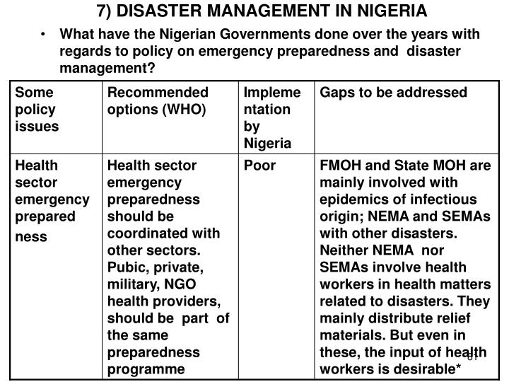 7) DISASTER MANAGEMENT IN NIGERIA