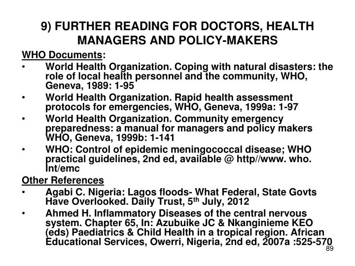 9) FURTHER READING FOR DOCTORS, HEALTH MANAGERS AND POLICY-MAKERS