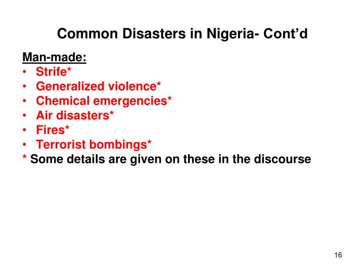 Common Disasters in Nigeria- Cont'd