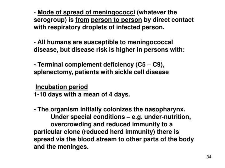 Mode of spread of meningococci