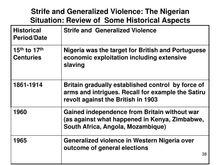 Strife and Generalized Violence: The Nigerian Situation: Review of  Some Historical Aspects