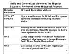 strife and generalized violence the nigerian situation review of some historical aspects1