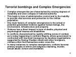 terrorist bombings and complex emergencies1