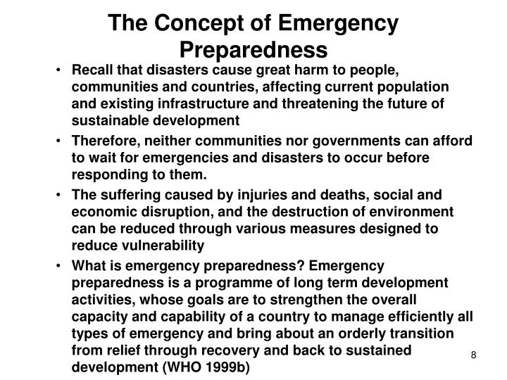 The Concept of Emergency Preparedness