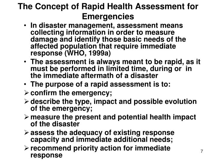 The Concept of Rapid Health Assessment for Emergencies