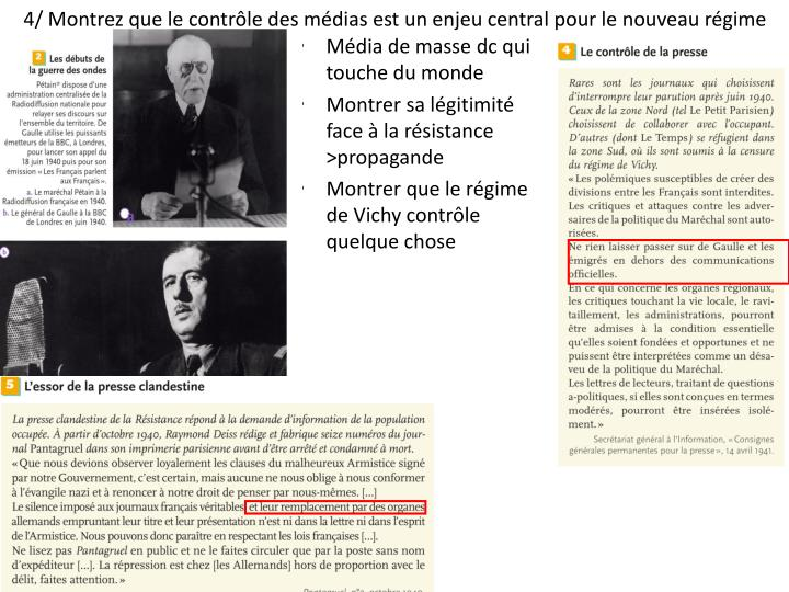 4/ Montrez que le contrôle des médias est un enjeu central pour le nouveau régime