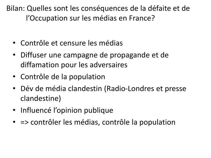 Bilan: Quelles sont les conséquences de la défaite et de l'Occupation sur les médias en France?