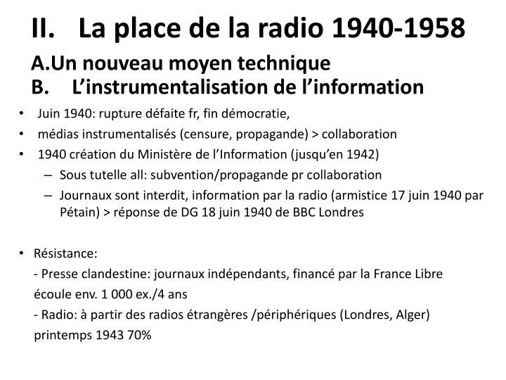 La place de la radio 1940-1958