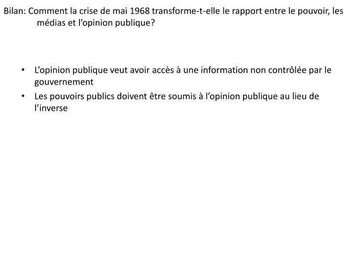 Bilan: Comment la crise de mai 1968 transforme-t-elle le rapport entre le pouvoir, les médias et l'opinion publique?