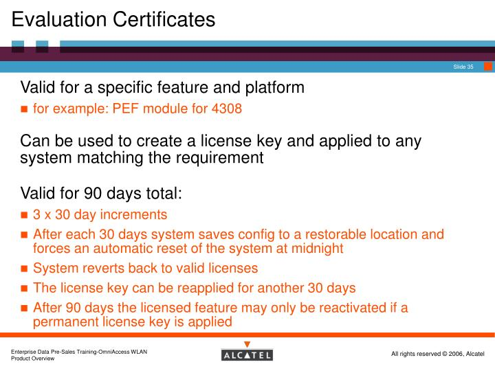 Evaluation Certificates
