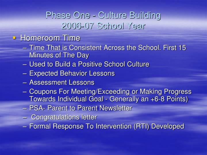 Phase One - Culture Building