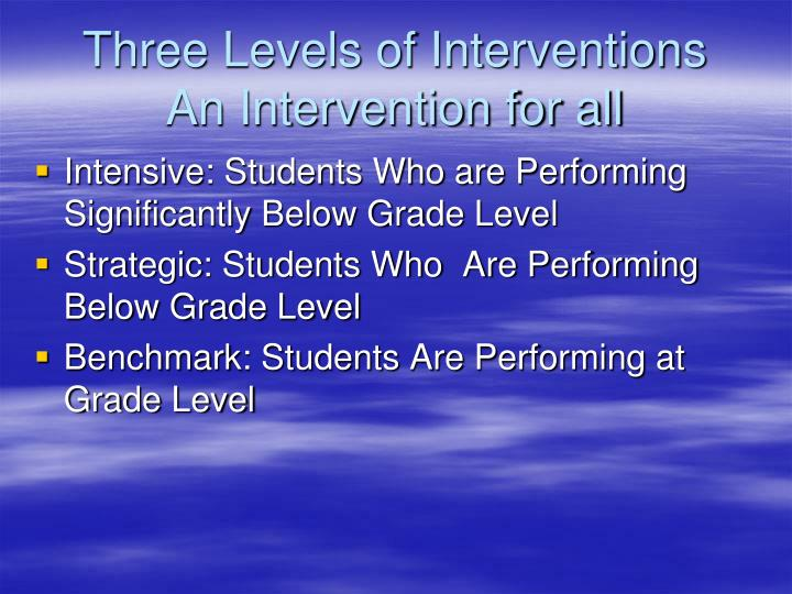 Three Levels of Interventions