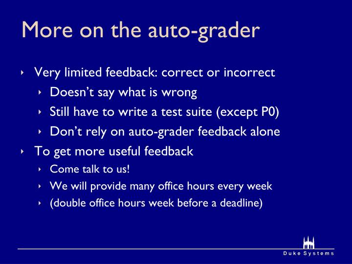 More on the auto-grader