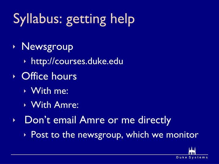 Syllabus: getting help