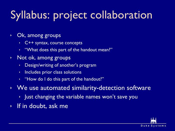 Syllabus: project collaboration