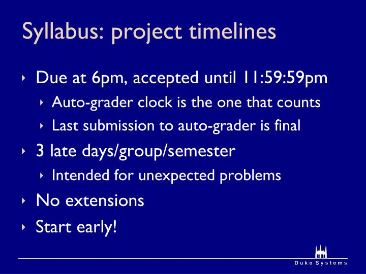 Syllabus: project timelines