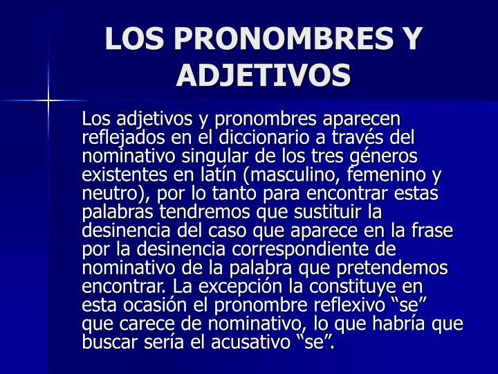LOS PRONOMBRES Y ADJETIVOS