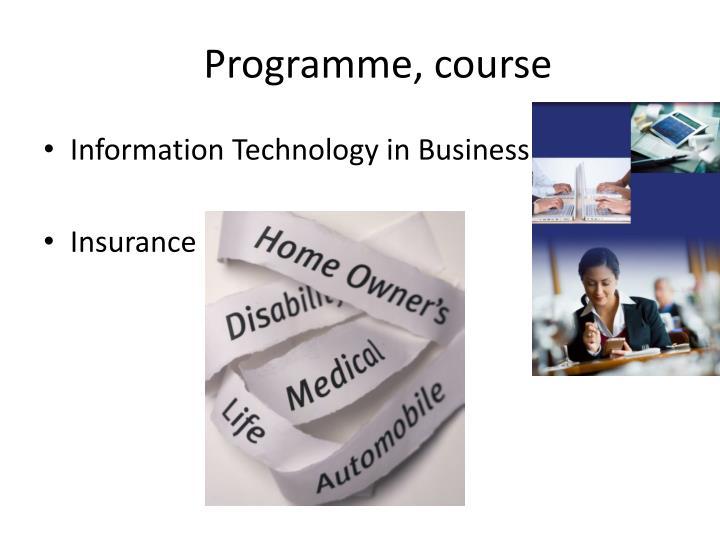 Programme, course