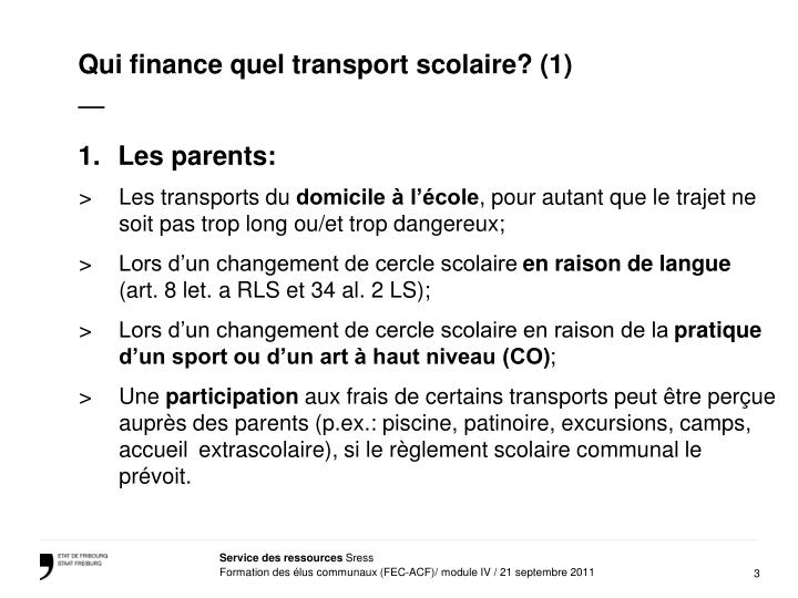 Qui finance quel transport scolaire? (1)