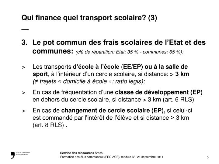 Qui finance quel transport scolaire? (3)