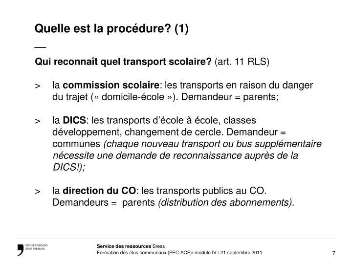 Quelle est la procédure? (1)