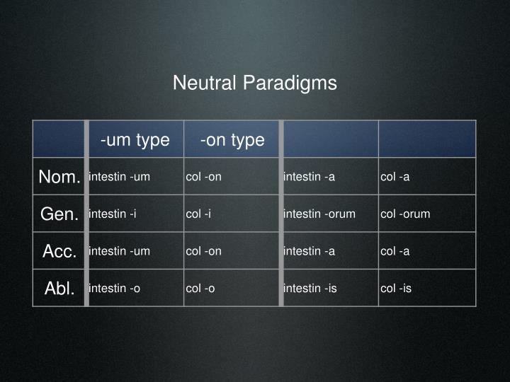 Neutral Paradigms