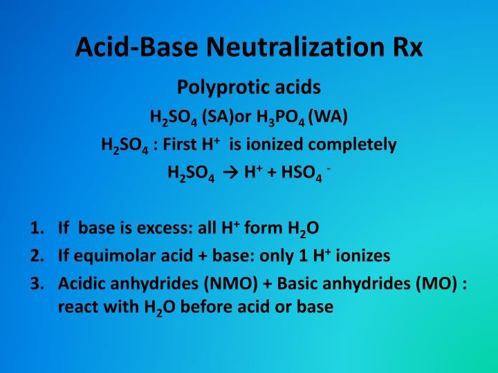 Acid-Base Neutralization Rx