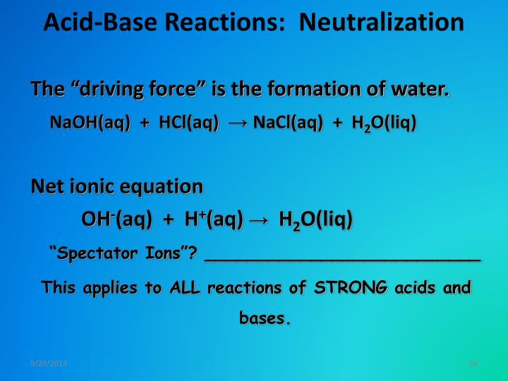 Acid-Base Reactions:  Neutralization