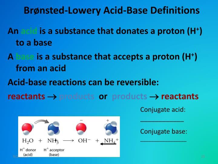 Brønsted-Lowery Acid-Base Definitions