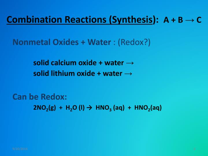 Combination Reactions (Synthesis
