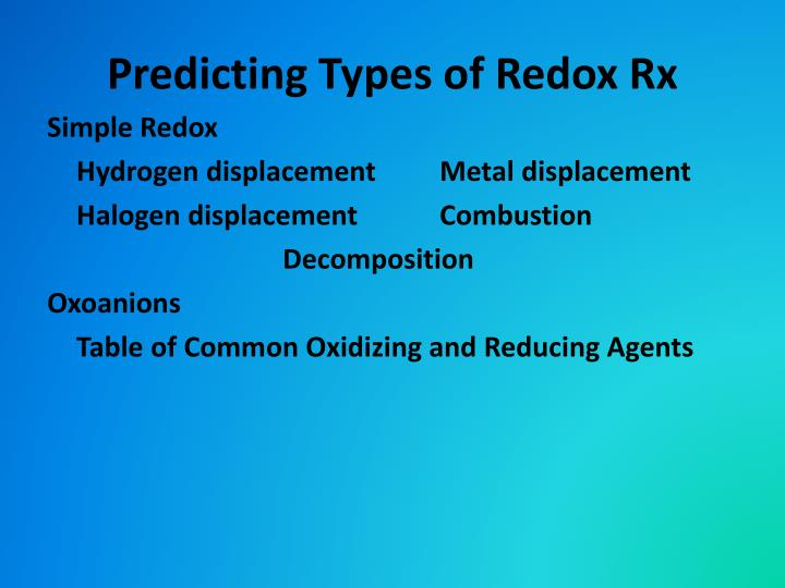 Predicting Types of Redox Rx