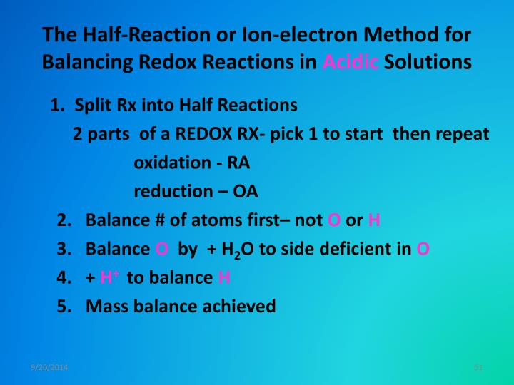 The Half-Reaction or Ion-electron Method for Balancing