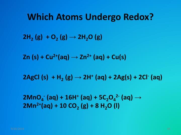 Which Atoms Undergo Redox?