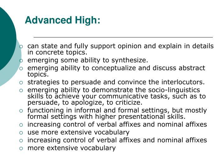 Advanced High:
