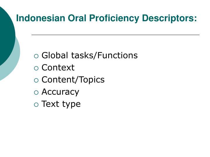 Indonesian Oral Proficiency Descriptors: