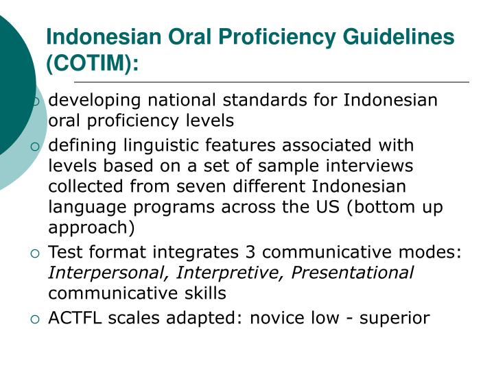 Indonesian Oral Proficiency Guidelines (COTIM):