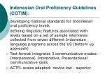 indonesian oral proficiency guidelines cotim
