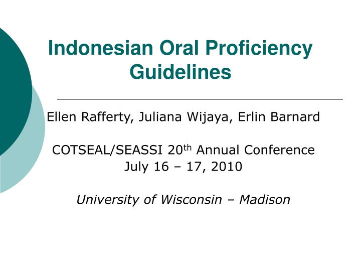 Indonesian oral proficiency guidelines