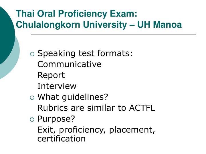 Thai Oral Proficiency Exam: