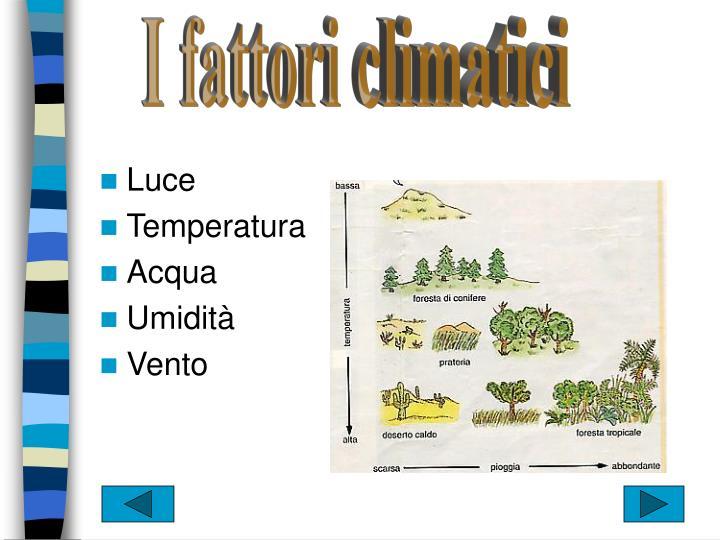 I fattori climatici
