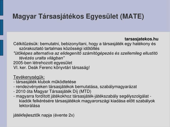 Magyar Társasjátékos Egyesület (MATE)
